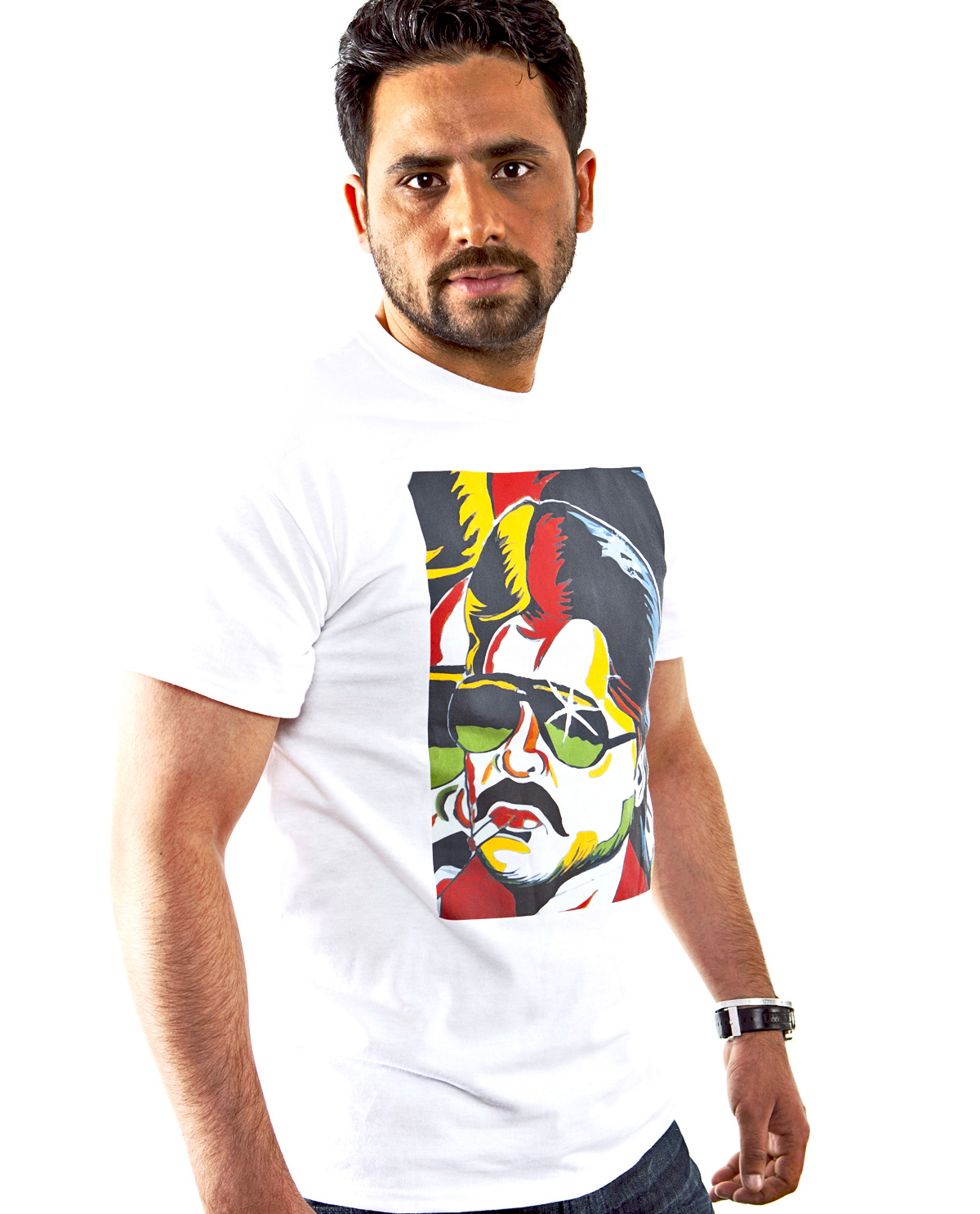 Rajnikanth Graphic design image on front t.shirts by Brown Man Clothing Co.