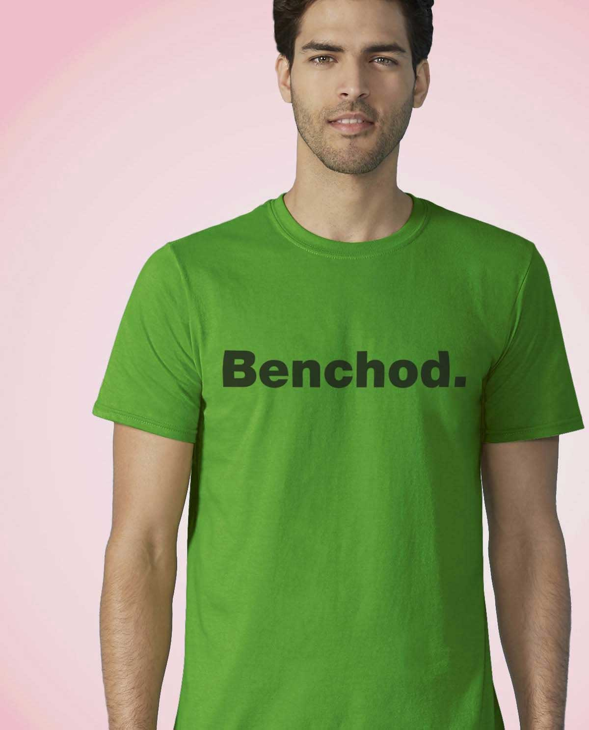 South Asian Male Model wearing green Benchod. t.shirt by Brown Man Clothing Co.