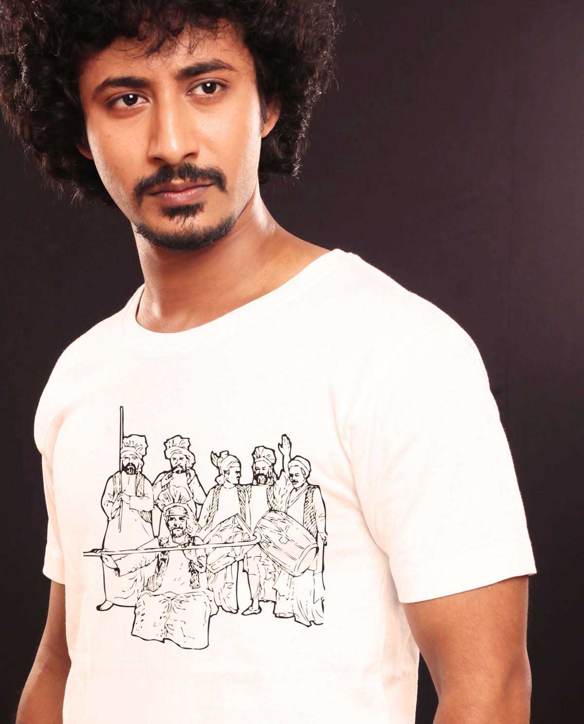 South Asian Male Model Wearing Gildan Ultra Cotton Tshirt with graphic design image of bhagara dancers.