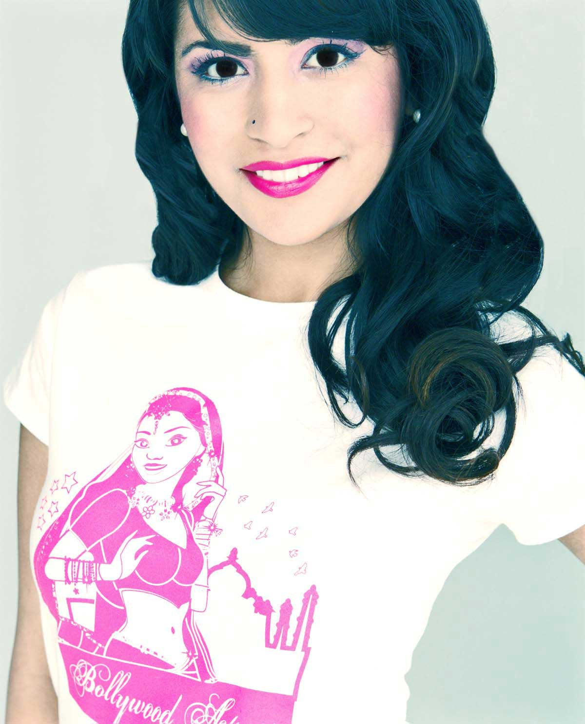 South Asian female model wearing Bollwyood Actress white SoftStyle  South Asian Desi Themed Graphic Design t.shirts by Brown Man Clothing Co.