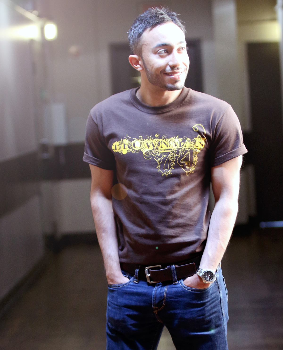 brownman74 t.shirt worn by South Asian male model.