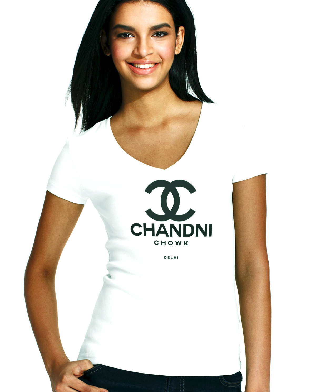 South Asian Female Model white fitted V Neck tshirt with graphic design on front by Brown Man Clothing Co. Chandni Chowk