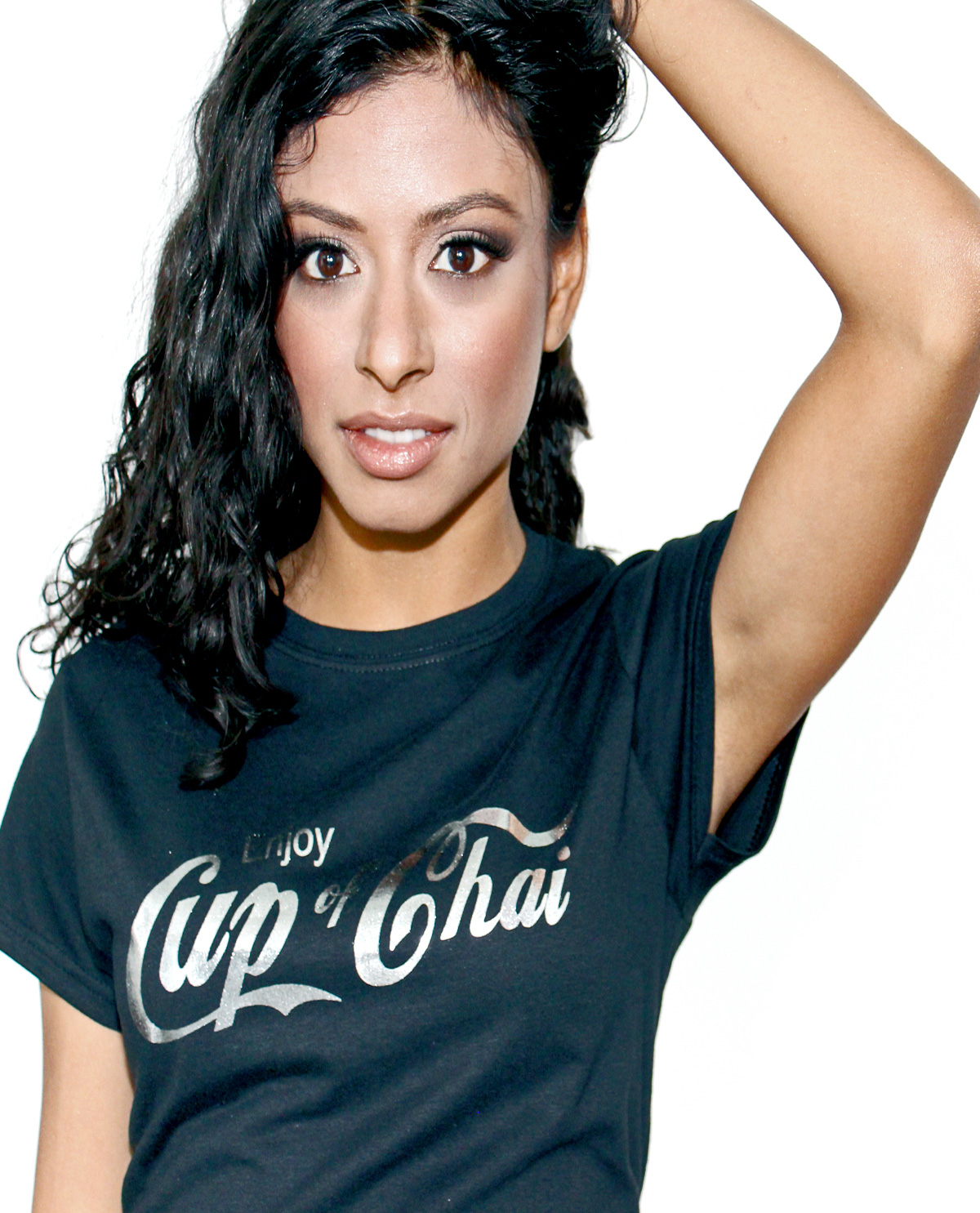 Black Fitted SoftStyle women with Cup of Chai scripted font design on front