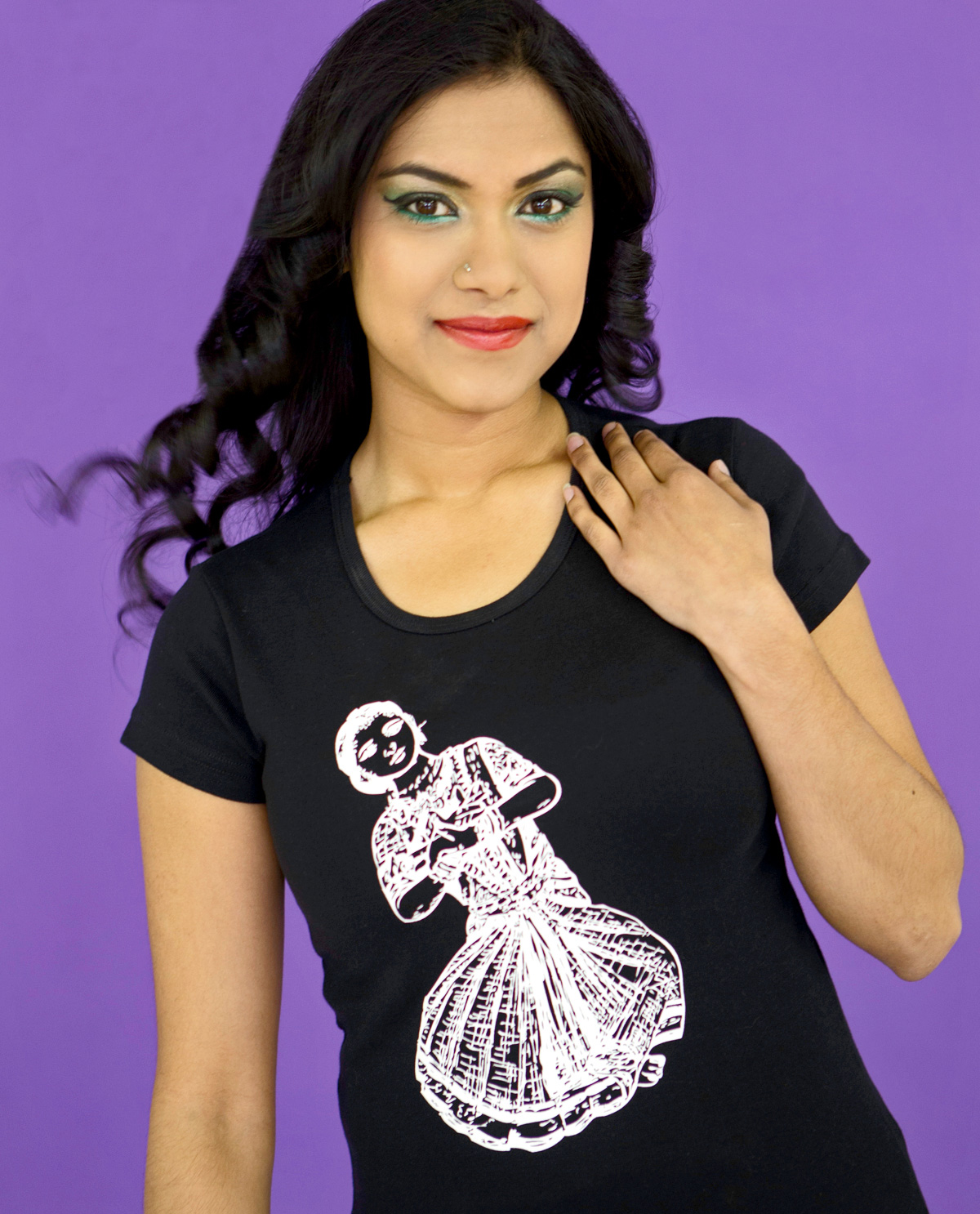 Vintage Indian Folk Dancing Girl graphic design image on front of black capped sleeved t.shirt by Brown Man Clothing Co.