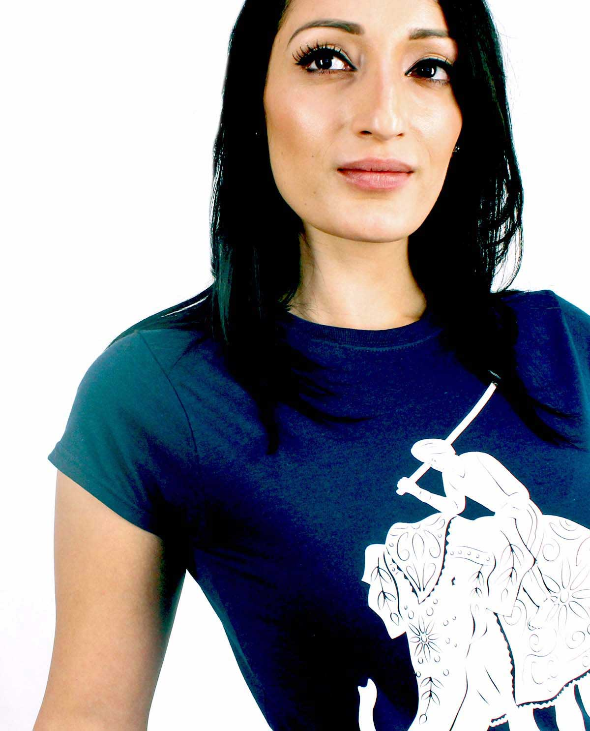 Elephanht Polo white silkscreened Graphic Design Tshirt printed on blue supersoft tshirt for women.