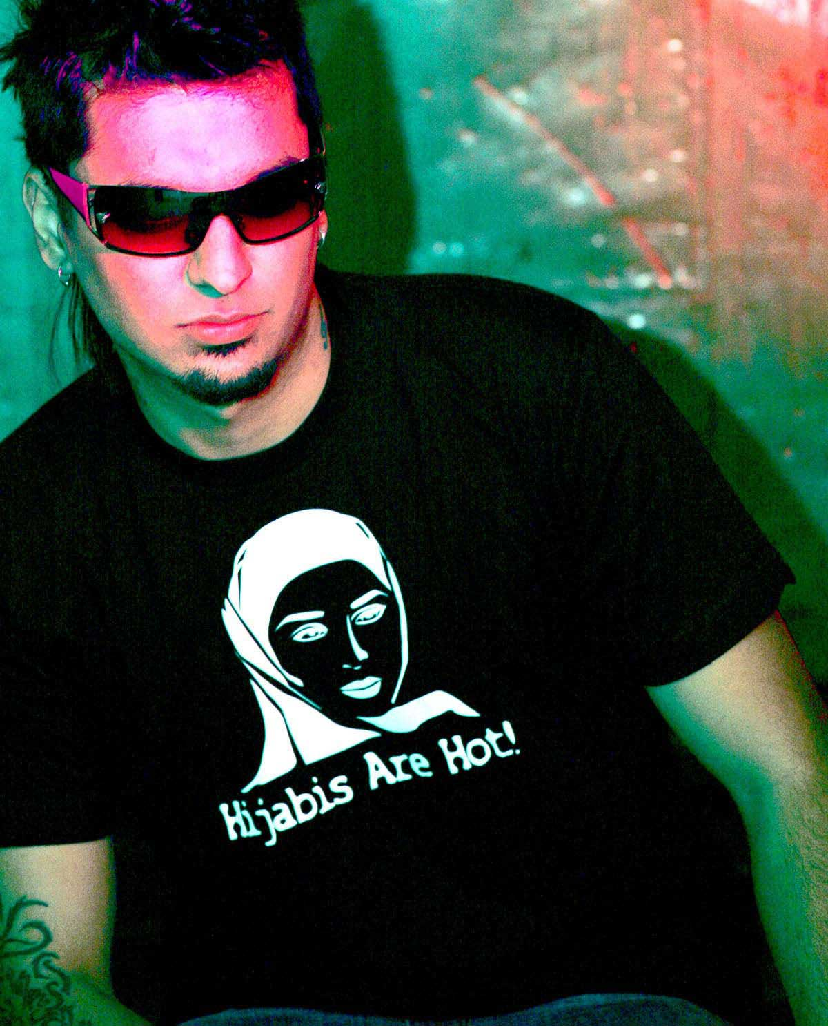 South Asian Male model wearing Black American Apparel tshirt with white graphic design image on front that says Hijabis Are Hot!