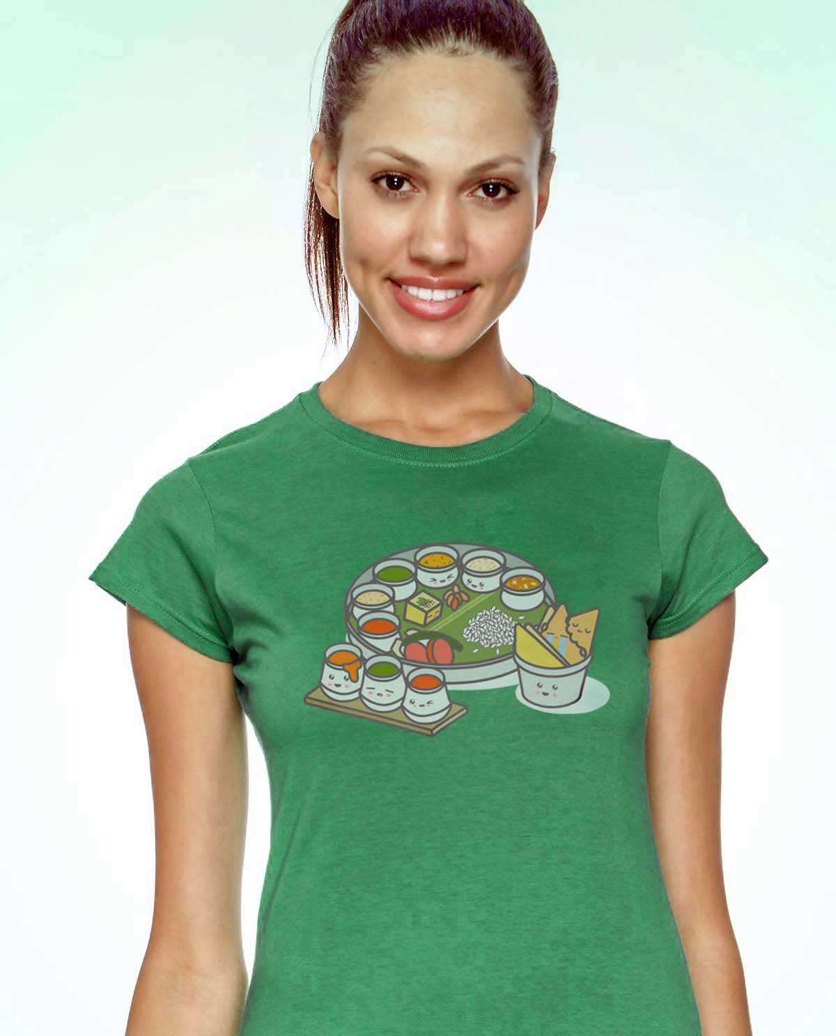 Kawaii Indian Thali food Graphic Design Tshirt printed on green supersoft tshirt for women.