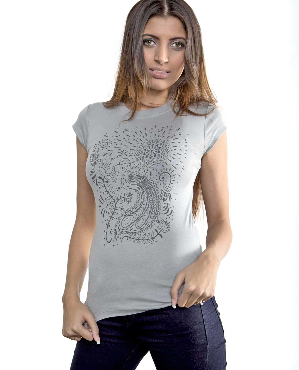 South Asian female model wearing graphic design tshirt by Bella Canvas with South Asian mendhi and peacock design.