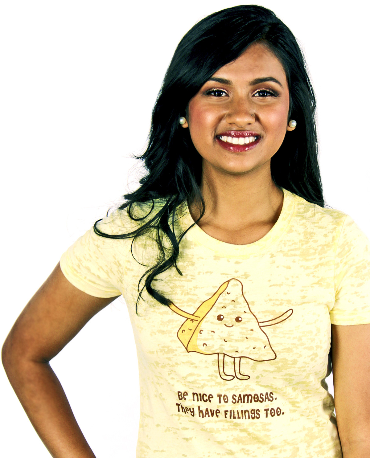 South Asian female model wearing Be Nice To Samosas yellow burnout South Asian Desi Themed Graphic Design t.shirts by Brown Man Clothing Co.